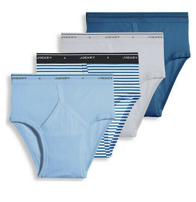 0698cfe34 Jockey Men's Classic Low Rise Briefs 4-Pack 100% Cotton Blues Size 32
