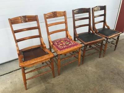 Vintage antique wooden chairs circa 1920s hand-carved oak