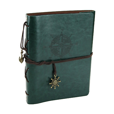 "XIUJUAN Scrapbook ""Compass"" Vintage Leather Refillable Photo Album A5 Black..."
