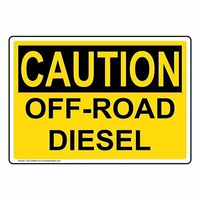 ComplianceSigns Aluminum OSHA CAUTION Off-Road Diesel Sign, 14 X 10 in. with...