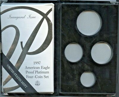 1997 4Pc Proof Platinum American Eagle Box & Coa, No Coins Or Capsules