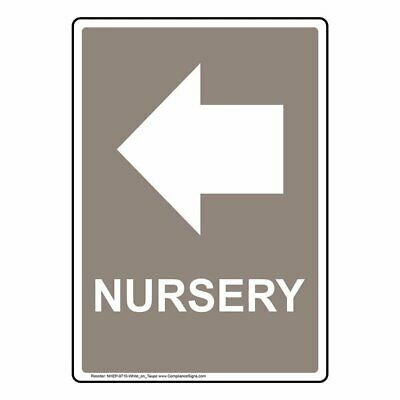 Sign Nursery Black Plastic for Wayfinding by ComplianceSigns 10x7 in with Left Arrow