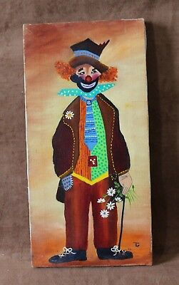 "Signed TG Vintage Oil Painting on Stretched Canvas "" Clown"" 8""x 16"""