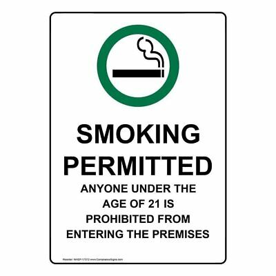 ComplianceSigns Vertical Aluminum Smoking Permitted Anyone Sign, 14 x 10 in...