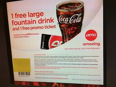 Three AMC e-Movie Tickets only, NO DRINK, ONE Large Popcorn expires 6/30/19