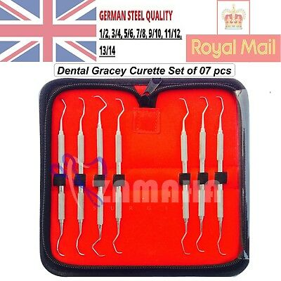 Dental Gracey curettes Set of 7 Periodontal Scaler Calculus Stainless Steel CE