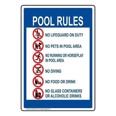 ComplianceSigns Aluminum Swimming Pool / Spa Sign, 14 x 10 in. with English Text