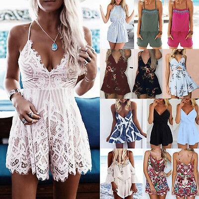 Womens Strappy Mini Playsuit Ladies Holiday Summer Beach Shorts Rompers Jumpsuit