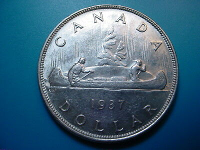 Canada~ Silver 1937 Dollar in Very Nice AU Condition!
