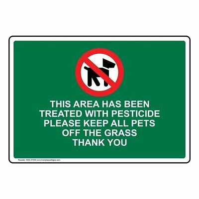 ComplianceSigns Plastic Area Treated With Pesticide Sign, 10 X 7 in. with Englis