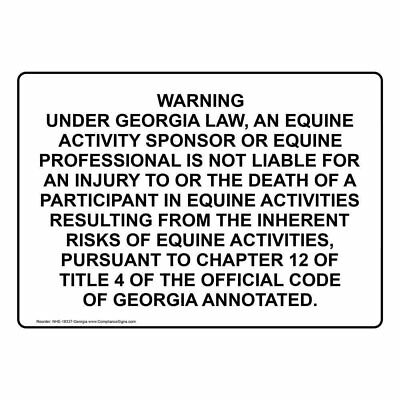 COMPLIANCESIGNS ALUMINUM NORTH Carolina Horseback Riding