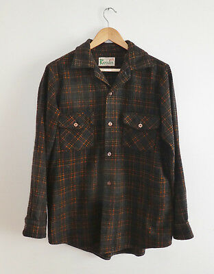 VINTAGE Mens Check Wool OVERSHIRT Rambler Label Made in NEW ZEALAND Size M