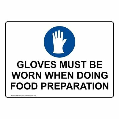 ComplianceSigns Plastic Food Prep / Kitchen Safety Sign, 10 x 7 in. with English