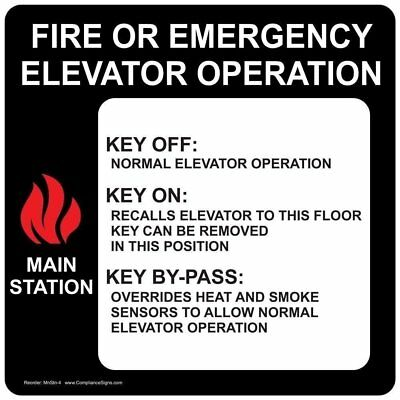 ComplianceSigns Vinyl Fire Or Emergency Elevator Operation Label, 6 x 6 in...