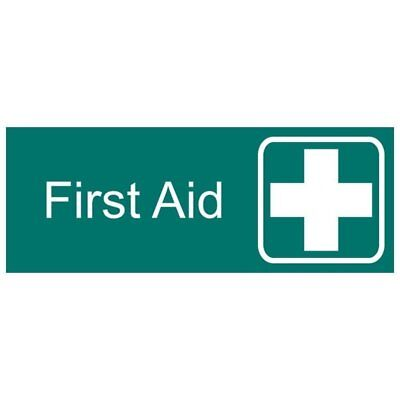 ComplianceSigns Engraved Plastic First Aid Sign with Symbol, 8 x 3 Green