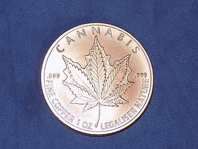 `Cannabis` - 1oz pure copper bullion coin by Silver Shield 2018 - new