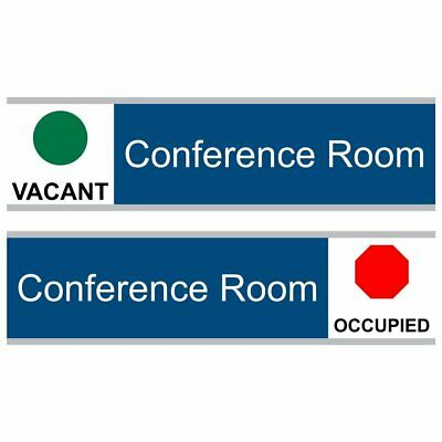 ComplianceSigns Engraved Acrylic Conference Room Sliding Sign, 8 x 3 in. Blue wi