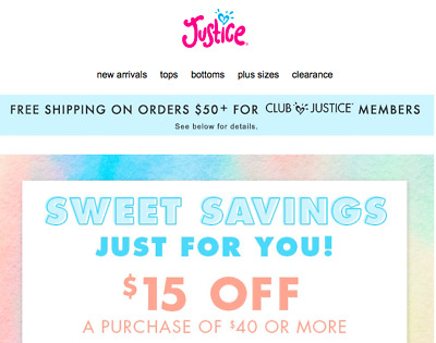 Justice 15$ Off $40 Coupon * In Store & Online * Works on Clearance Sale EXP 2/4