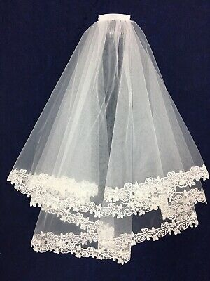 Luxury White Veil with Lace Border, Ideal Holy Communion BN
