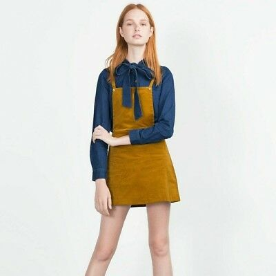 hot-selling authentic 2019 best prevalent ZARA TRAFALUC MUSTARD Corduroy Pinafore Jumper Dress, Women's Size Small