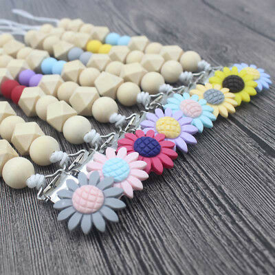 NEW DIY Silicone  Dummy Pacifier Chain Sunflower Clips Baby Teething Soother
