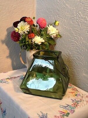 Lovely Vintage Style Green Glass Terrarium, Candle Holder  #3876