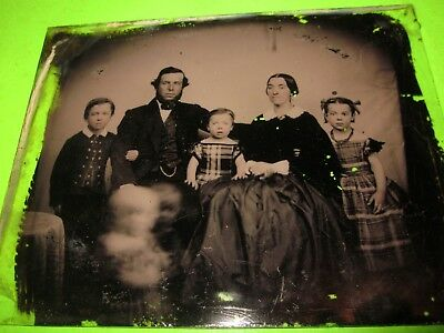 "1/2 Plate Glass Ambrotype of 1800s Family 4 1/4"" x 5 3/8"""