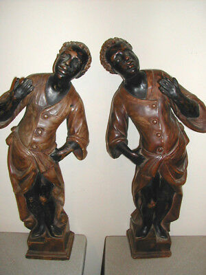 "LOT-2 SET BLACKAMON Stable Hands,Servants?18""LARGE & HEAVY Ceramic w/Metal Base"