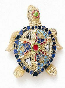 Kubla Crafts TROPICAL MOSAIC SEA TURTLE Magnets Set of 2 Baby Tortoise Tortugas