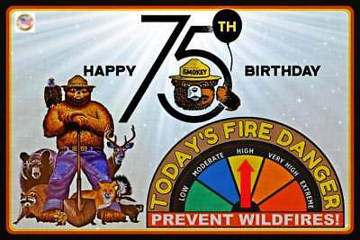 "Limited Edition! 75Th Birthday Smokey Bear 8""x12"" Metal Sign W/ Moveable Gauge"