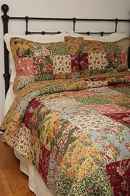 Queen Quilt Set French Country Patchwork Attic Treasures Floral + Pillow Pair