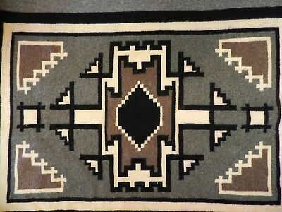 "Old Storm Pattern Navajo  Rug Blanket,39"" X 26"",clean, Ex Cond! One Ariz Owner"