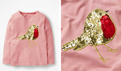 Mini Boden girls top tshirt sequin 3 4 5 6 6 7 8 9 10 11 12 years  pink robin