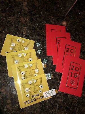Lot of 4 STARBUCKS 2019 LUNAR NEW YEAR OF THE PIG GIFT CARD w/ Custom Envelopes
