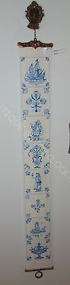 Blue Delft Embroidery Bell Pull Cord With Hardware