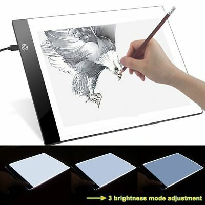 A4 LED Artist Thin Art Stencil Board Light Box Tracing Drawing Board Table AU ZJ