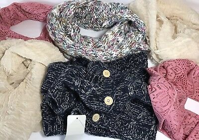 Lot 6 Fashion Scarves Cowl Infinity Style Resale Boutique Gifts Pink Cream Blue