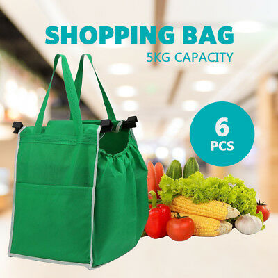 6 PCS Reusable Shopping Bags Green Eco Foldable Handle Bag Grocery Cart Trolley