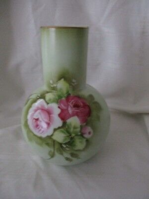 Lefton China vintage hand painted rose vase green pink 1266