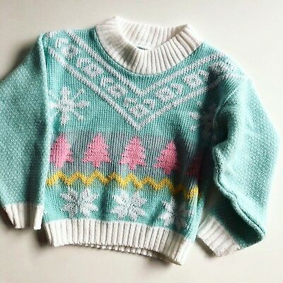 Vintage Girl's Toddler Sweater Mint Green Tree Snowflake 2T