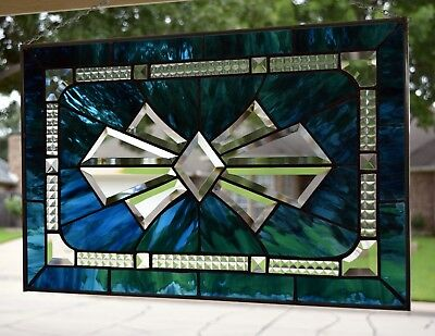 """ Blue Bow Tie Bevel #1"" Stained Glass Window Panel"