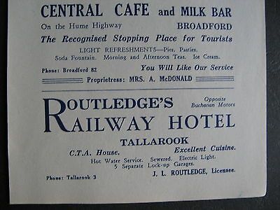 Routledge's Railway Hotel Tallarook J L Routledge Central Cafe Broadford A McDon