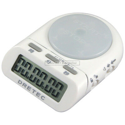 DRETEC T-186 White / Pink / Mint Time Up Timer Stopwatch Clock Big Button