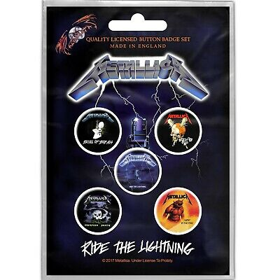 Metallica Ride The Lightning 5 Button Set Badge Pack Metal Badges New