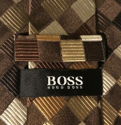 "Hugo Boss Men's Multi Color Neck Tie 57"" x 3.5"" 100% Silk Made In Italy LBB76"