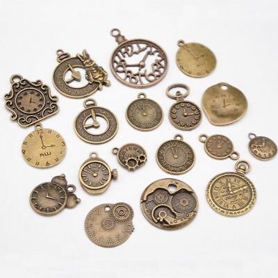 18 PCS Fashion Mixed Vintage Metal Zinc Alloy Clock Charms for Jewelry Making