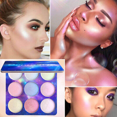 1x Women Girl 9 Colors Highlighter Eyeshadow Palette Shiny Brighten Makeup Tools