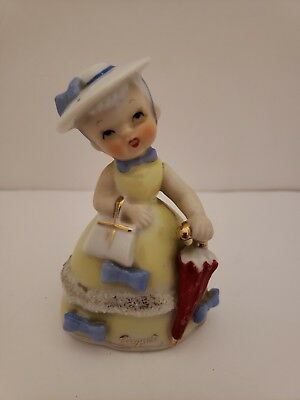 Vintage Napco S984 August Birthday Girl Bell Figurine With Parasol