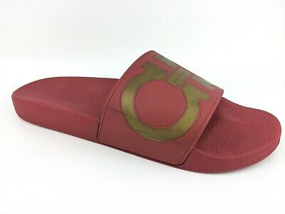 9d1b1c56b42 Salvatore Ferragamo Men s Groove Gancini Red PVC Leather Pool Slides sz  US  10