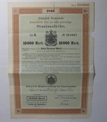 1895 German Bond 10000 Mark Royal Prussian Government Bond